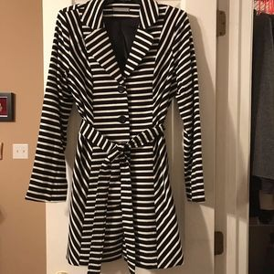Olivia Moon Black and White Striped Trench Coat